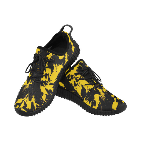 Black and Yellow Paint Splatter Men's Breathable Woven Running Shoes | BigTexFunkadelic