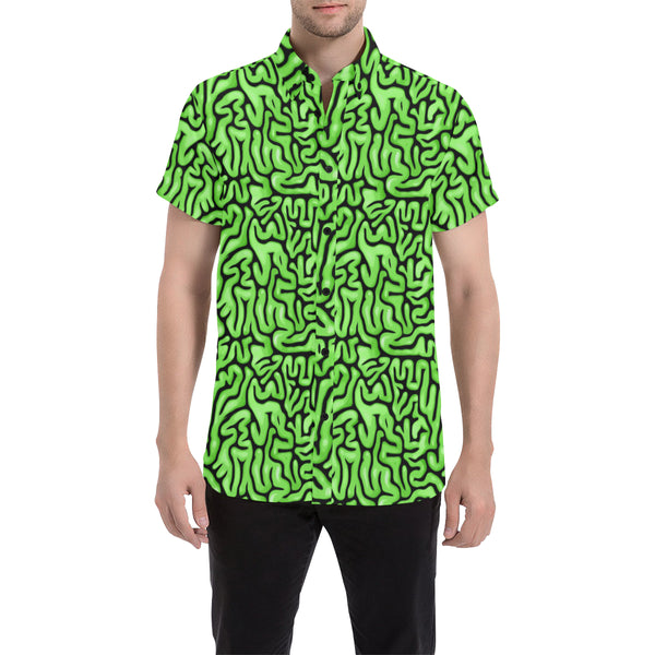 Zombie Food Halloween Green Brains Short Sleeve Button Up Shirt | BigTexFunkadelic