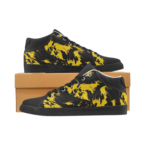 Black and Yellow Paint Splatter Men's Chukka Canvas Shoes | BigTexFunkadelic