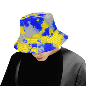 Blue and Yellow Paint Splatter Bucket Hat | BigTexFunkadelic