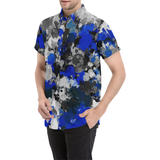 Blue and Grey Paint Splatter Short Sleeve Button Down Shirt | BigTexFunkadelic