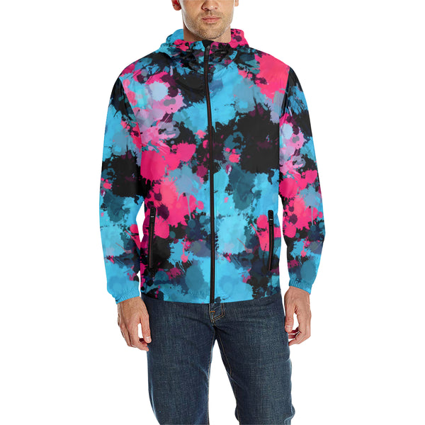 Pink and Blue Paint Splatter Quilted Windbreaker | BigTexFunkadelic