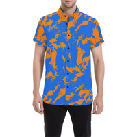Blue and Orange Paint Splat Graffiti Short Sleeve Button Down Shirt | BigTexFunkadelic