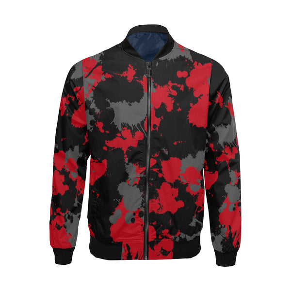 Red Grey and Black Paint Splatter Big & Tall Bomber Jacket | BigTexFunkadelic