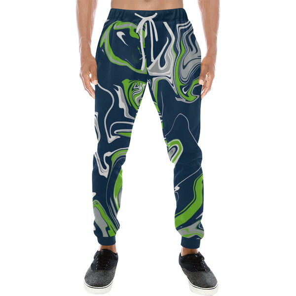 Blue Green Grey and White Oil Slick Men's Big & Tall All Over Print Jogger Sweatpants | BigTexFunkadelic