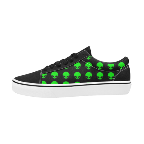 Green Alien Head Men's Low Top Skateboarding Shoes | BigTexFunkadelic