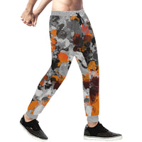 Orange and Grey Paint Splatter Men's All Over Print Jogger Sweatpants | BigTexFunkadelic