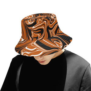 Burnt Orange, Black and White Abstract Melt Bucket Hat | BigTexFunkadelic