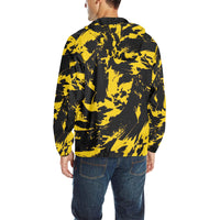Black and Yellow Paint Splatter Quilted Windbreaker | BigTexFunkadelic