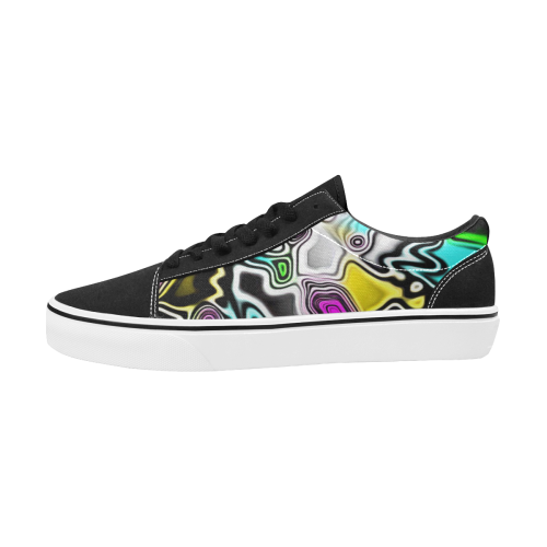 Psychedelic Paint Drop Men's Low Top Skateboarding Shoes | BigTexFunkadelic