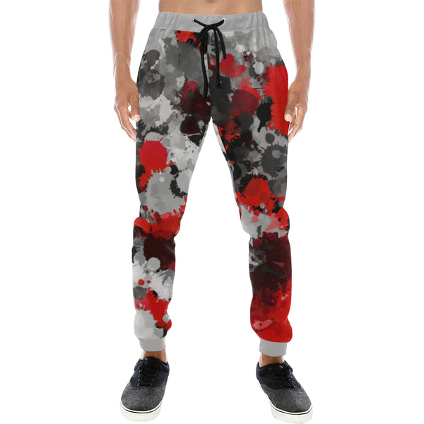 Red and Grey Paint Splatter Men's All Over Print Jogger Sweatpants | BigTexFunkadelic