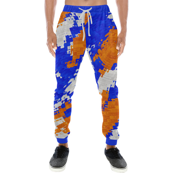 Blue and Orange Men's All Over Print Jogger Sweatpants | BigTexFunkadelic