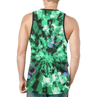 Spaced Out Green Tie-Dye Alien Relaxed Fit Men's Tank Top