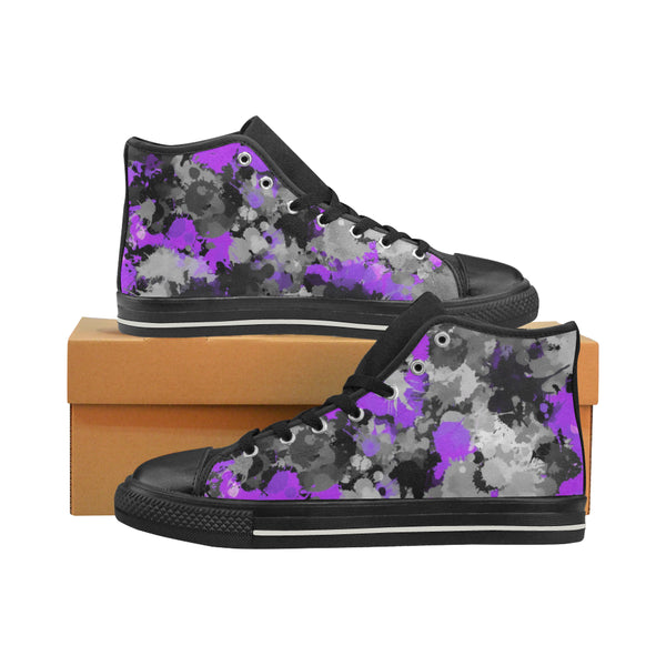 Purple and Grey Paint Splatter Hi-Top Women's Sneakers | BigTexFunkadelic