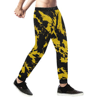 Black and Yellow Paint Splatter Men's All Over Print Sweatpants