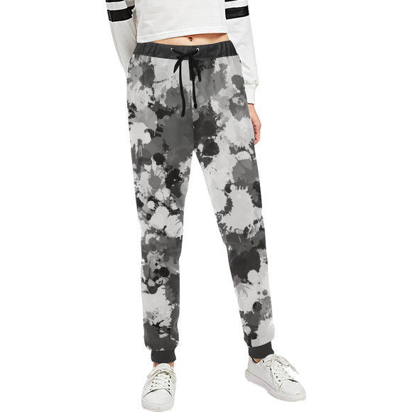 Grey and White Paint Splatter Women's All Over Print Jogger Sweatpants | BigTexFunkadelic