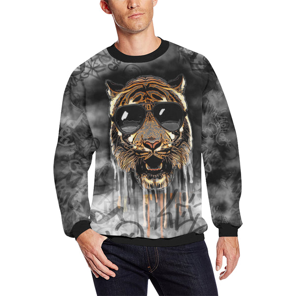 Tiger Graffiti Men's Big & Tall Oversized Fleece Crewneck Sweatshirt | BigTexFunkadelic