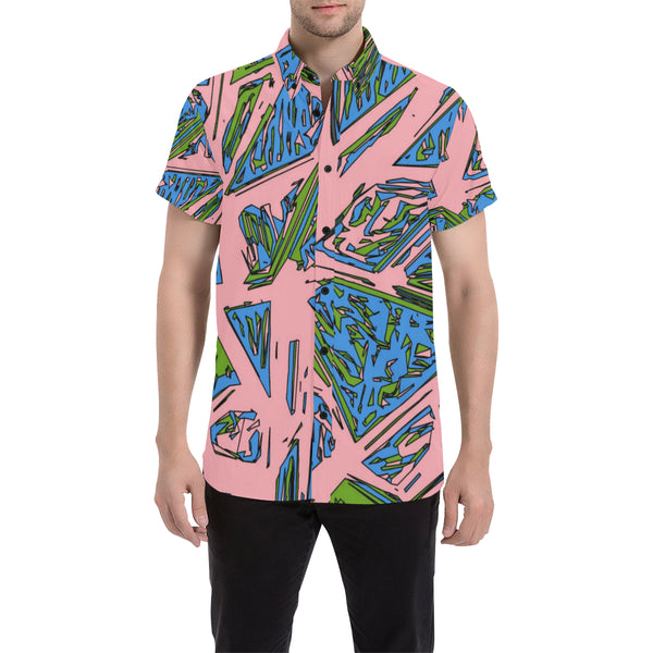 Urban Geo Frenzy Short Sleeve Button Up Shirt | BigTexFunkadelic