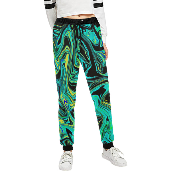 Teal Oil Spill Women's All Over Print Rave Jogger Sweatpants | BigTexFunkadelic