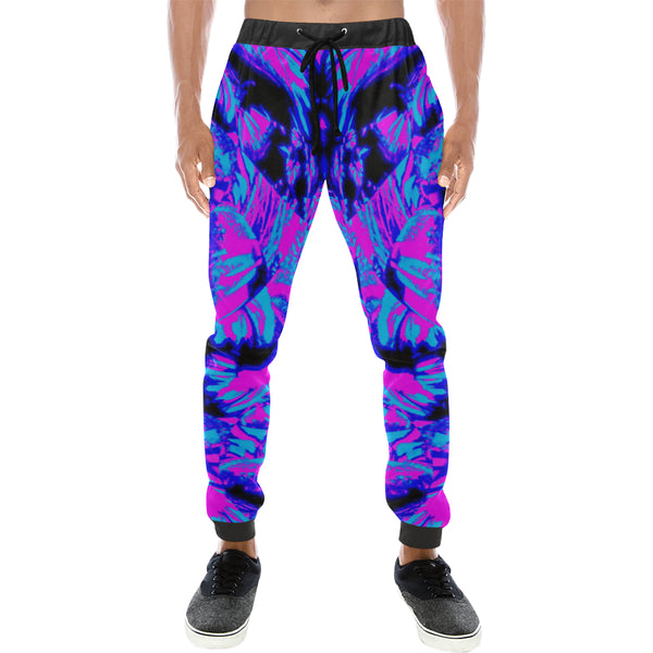 Fluorescent 80s EDM Blacklight Men's All Over Print Jogger Sweatpants - BigTexFunakdelic