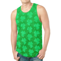 St. Patrick's Day Green Clovers Relaxed Fit Men's Tank Top - BigTexFunkadelic