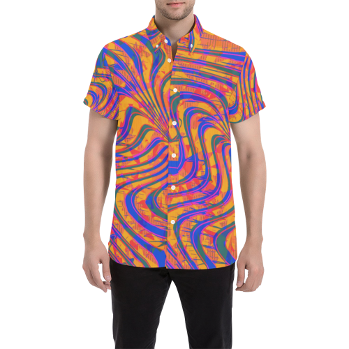 Blue and Orange 90s Abstract Button Down Short Sleeve Shirt | BigTexFunkadelic