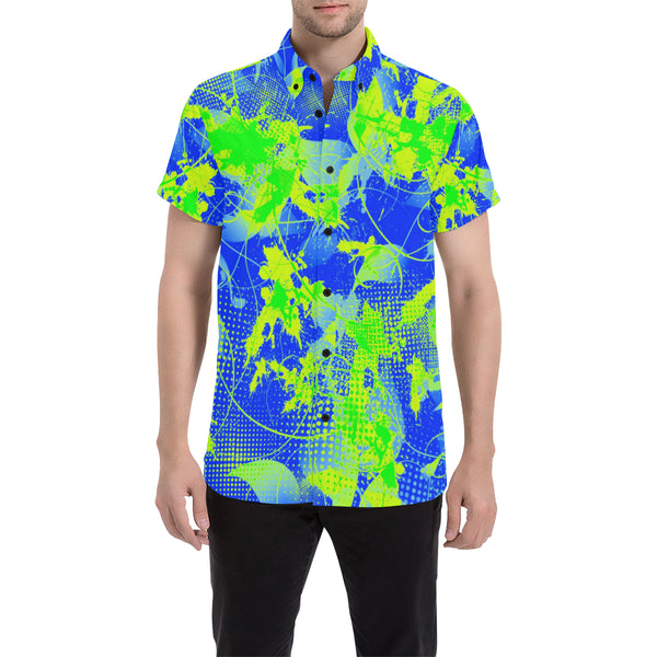 90s Summer Vibes Blue and Green Short Sleeve Button Up Shirt | BigTexFunkadelic