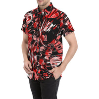 Trippy Red and Black Short Sleeve Button Up Shirt | BigTexFunkadelic