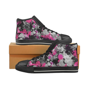 Pink and Grey Paint Splatter Hi-Top Women's Sneakers | BigTexFunkadelic