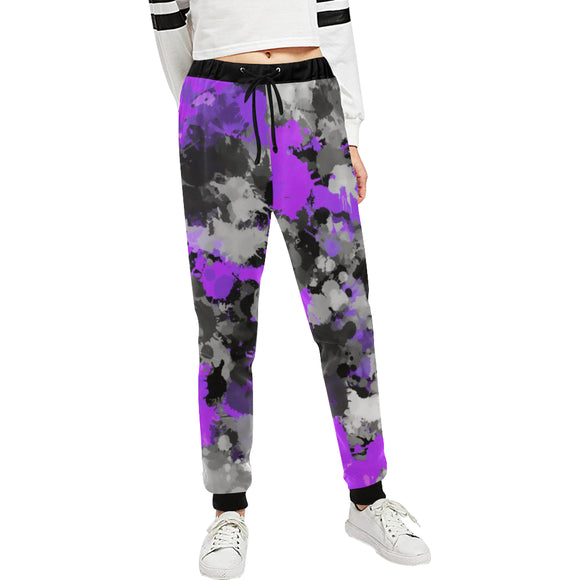 Purple and Grey Paint Splatter Women's All Over Print Jogger Sweatpants | BigTexFunkadelic
