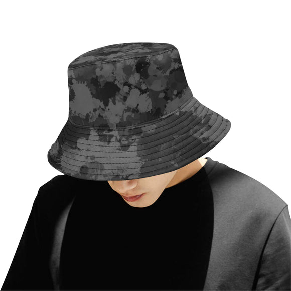 Grey and Black Paint Splatter Bucket Hat | BigTexFunkadelic