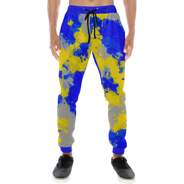 Blue and Yellow Paint Splatter Men's All Over Print Jogger Sweatpants | BigTexFunkadelic
