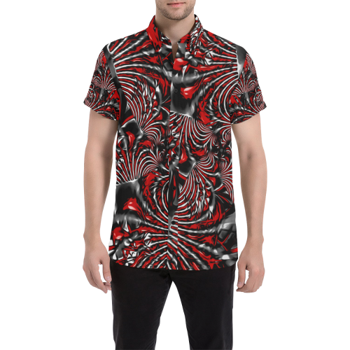 Crimson Burst Fractal Button Down Short Sleeve Shirt | BigTexFunkadelic