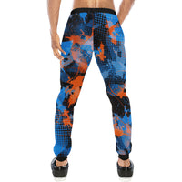 Blue and Orange Graffiti Abstract Men's Big & Tall All Over Print Jogger Sweatpants | BigTexFunkadelic