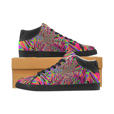 Neon Acid Waves Men's Chukka Canvas Shoes | EDM Festival Fashion | BigTexFunkadelic