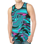 Teal and Black Abstract Rave Relaxed Fit Men's Tank Top | BigTexFunkadelic