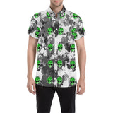 Alien Paint Splatter Short Sleeve Button Up Shirt | BigTexFunkadelic