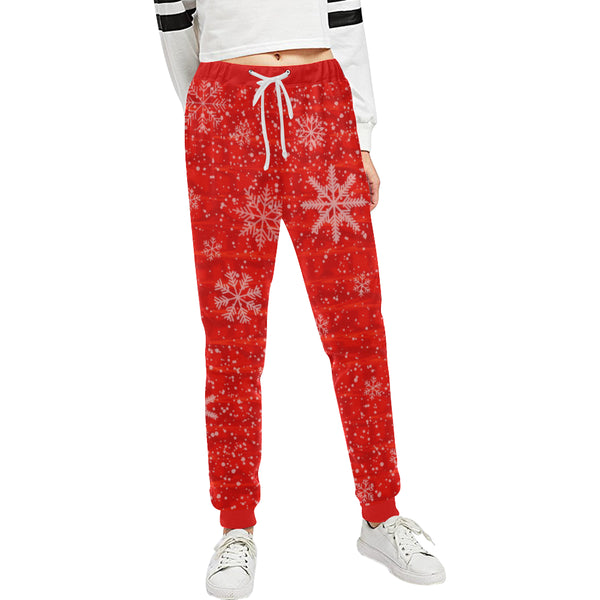 Red Holiday Snowflake Women's All Over Print Jogger Sweatpants | BigTexFunkadelic