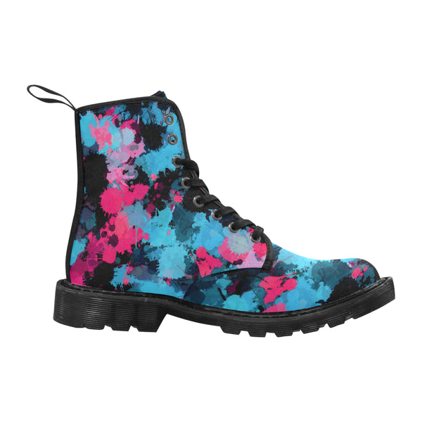 Pink and Blue Paint Splatter Women's Boots | BigTexFunkadelic