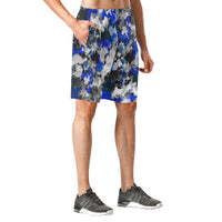 Blue and Grey Paint Splatter Graffiti Casual Shorts | BigTexFunkadelic