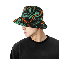 Orange, Black and Jade Green Psychedelic Camo Melt Bucket Hat | BigTexFunkadelic