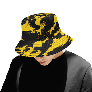 Black and Yellow Paint Splatter Bucket Hat | BigTexFunkadelic