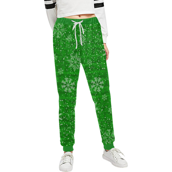 Green Holiday Snowflake Women's All Over Print Jogger Sweatpants | BigTexFunkadelic