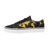 Black and Yellow Paint Splatter Graffiti Men's Low Top Skateboarding Shoes