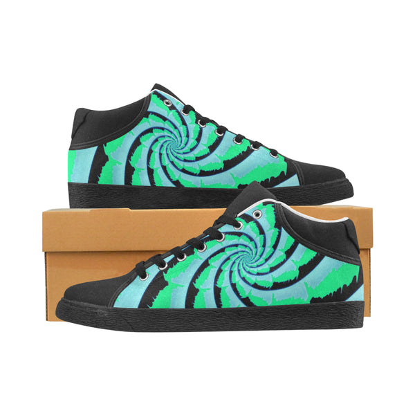 Fractal Tie-Dye Men's Chukka Canvas Shoes | Mint Green | BigTexFunkadelic