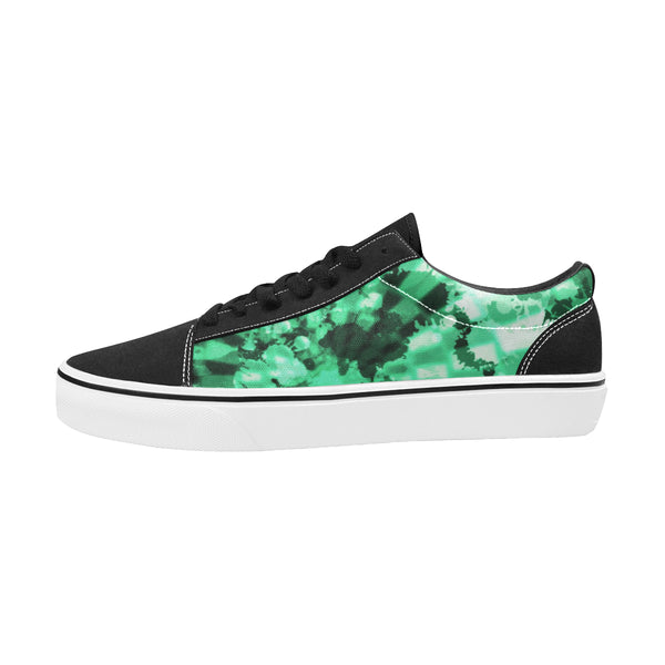 Green Tie-Dye Men's Low Top Skateboarding Shoes | BigTexFunkadelic