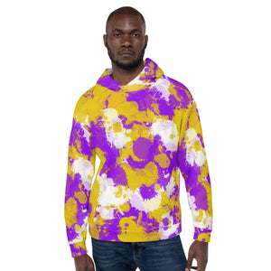 Purple Gold and White Paint Splatter Pullover Hoodie | BigTexFunkadelic