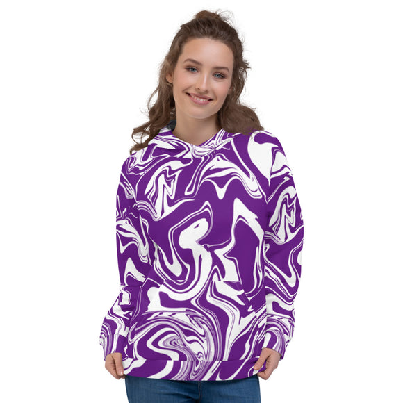 Purple and White Oil Spill Pullover Hoodie | BigTexFunkadelic