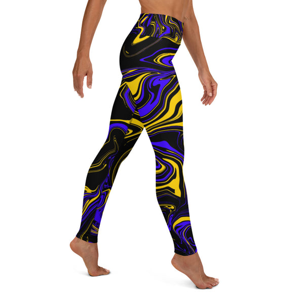 Yellow Blue and Black Oil Spill Yoga Leggings | BigTexFunkadelic