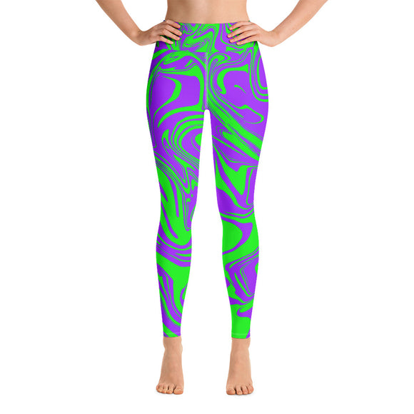 Purple and Green Slime Melt Yoga Leggings | BigTexFunkadelic